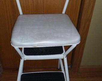 Vintage Cosco White Swirly Vinyl Chrome Metal Step Stool Kitchen Chair