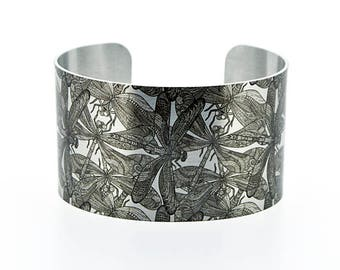 SALE 40% off. Statement cuff bracelet with dragonflies, handmade jewellery, brushed silver wide metal bangle. Clearance sale. C278