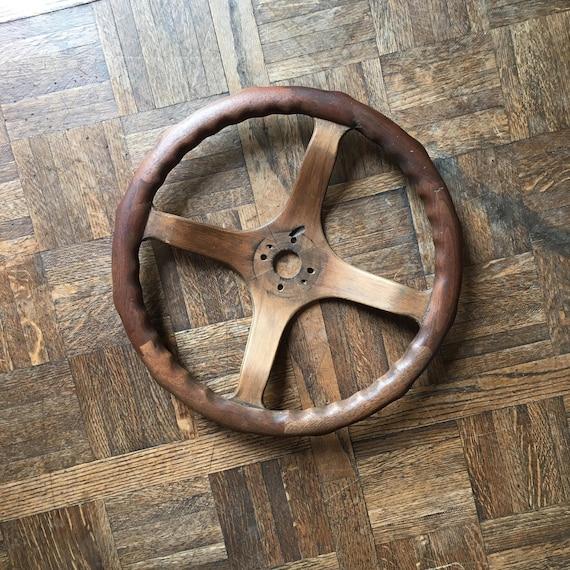 Antique Wood Steering Wheel, Locking Wood Steering Wheel, Automobilia, Automobile Decor, Automotive Wall Art, Model T