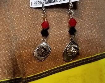 Firefighter dangle earrings, Fire helmet earrings, Fire wife gift, Super cute Fire helmet earrings