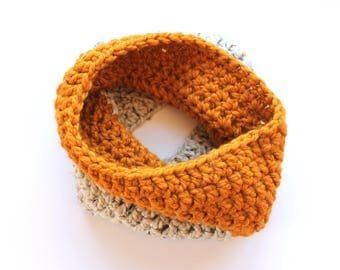 gold and oatmeal infinity scarf, butterscotch cowl scarf, multi color crochet scarf, gold wool scarf, gold knit scar, crochet scarf, knit sc