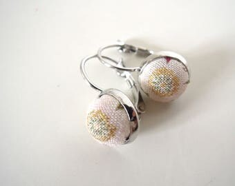 "Earings silver metal "" Golden japanese flower  """