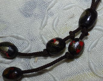 Vintage Hand-Painted Barrel Bead and Knotted Rope or String Necklace