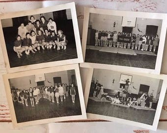 Lot of 4 Black & White Photos of College Gym Cheer Leaders Basketball Band 1950s