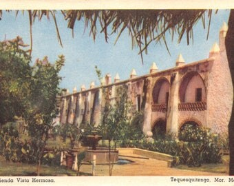Vintage 1950's Postcard of Hotel Hacienda Vista Hermosa in Mexico Unused