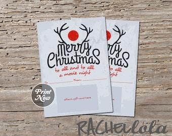 Printable Christmas movie night gift card holder, antler merry christmas, digital, instant download, last minute gift, teacher, neighbor