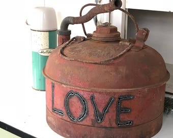 Vintage LOVE Cut Gas Can Lantern