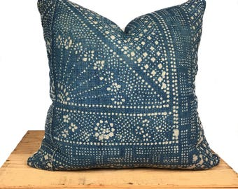 Vintage Chinese Batik Pillow - Light Faded Indigo - 18 Inch