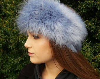 Cornflower Blue Faux Fur Headband / Neckwarmer / Earwarmer Handmade in Lancashire England