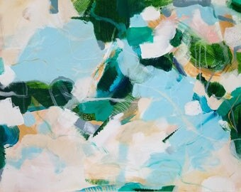 Laguna 24x18in Landscape  Original Abstract Acrylic Painting, abstract canvas art, OOAK, blue green