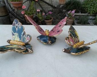 Three 1960's retro Spanish Ceramic wall hanging butterflies