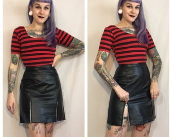 Vintage 1980's Leather Skirt with Zippers