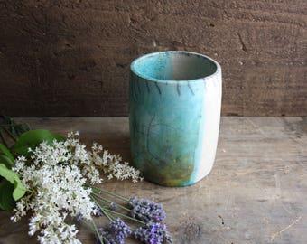 Raku ceramic white and blue pencil holder handmade