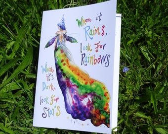 Rainbow Maker, Gratitude Journal, When it Rains, look for Rainbows, Inspirational Quote, A5 Notebook, Journal, Fairy Notepad, Fairie