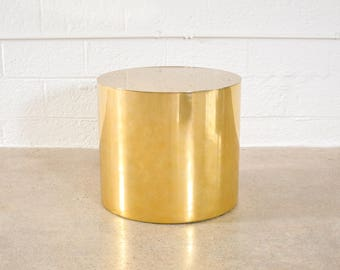 Mid Century Side Table, Modern End Table, Paul Mayen for Habitat Mid Century Modern Brass Drum Table, 1970, Vintage