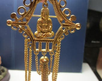 Vintage Rare Buddha in Temple Brooch Pin By Art