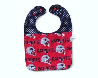 Patriots Baby Bib | New England Patriots | Patriots Baby Gift | Baby Boy Bib | Handmade Baby Gift | Baby Feeding Bib | Toddler Bib