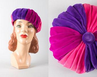 Vintage 1960s Hat   60s Velvet Beret Color Block Pinwheel Purple Pink Pleated Tam (small)