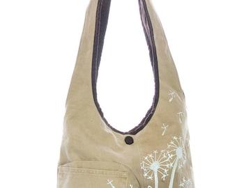 Handpainted flowers shoulder bag, beige fabric, romantic style