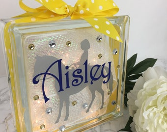 Young Girl on Horse GemLight, Personalized, Horseback Riding Gifts