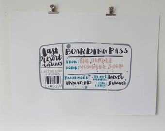 A3 One Off Refugee Art 'Boarding Pass' Screenprint