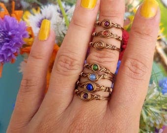 Stackable dainty chakra rings - Made to Order