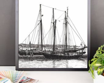 Schooners on the York River Framed Poster