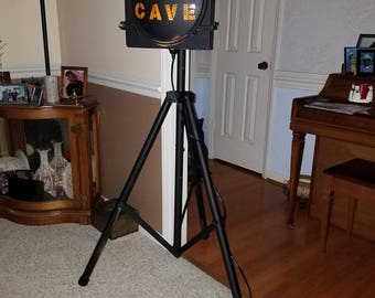 Man Cave light Re purposed traffic light and commercial speaker stand.