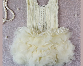 Ready to ship. Size 12-18 month. Ivory Lace and Tulle Baby Tutu Dress. Baby dress with Lace Stretch Crochet Bodice.