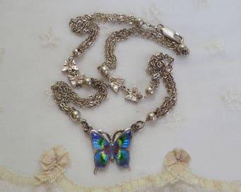 Vintage Sterling Silver Enamel Butterfly Necklace . Sterling Silver Beads Butterfly Charms - Enameled - Chain