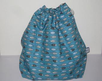 Sac bleu poissons graphiques imperméable, sac piscine, sac à maillot pour retour piscine avec maillots de bain mouillés, Bikini Wet-sac