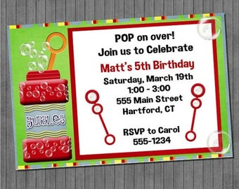 ON SALE Bubble Birthday Invitations