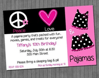 FLASH SALE Peace Love Pajamas Invitations