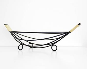 Vintage Metal Wire Bowl // Wire Basket // String Mid Century Modern Footed Black Wire Basket