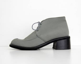 Vintage Boots // Silver Gray Canvas Chunky Heel Ankle Boots