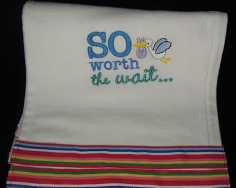 Embroidered Baby Boy Burp Cloth
