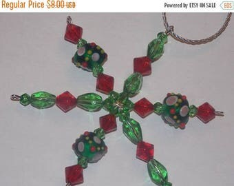 15%OFF Green Lampwork Red Bicone Green Teardrop Glass Christmas Snowflake Star Ornament