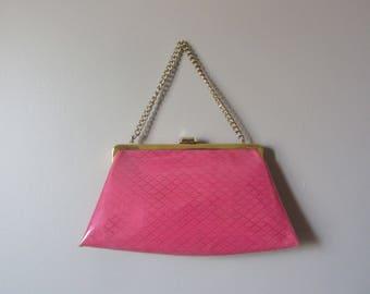 1960s pink vinyl purse | 60s mid century handbag