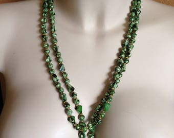 Necklace - long necklace with pretty marbled green beads