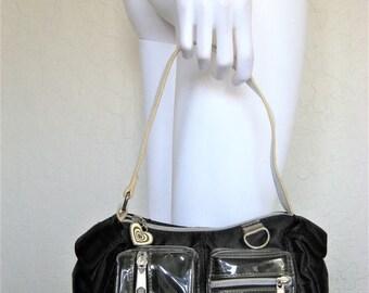 25% off SALE 90s mini Cargo Black Satin & Clear Vinyl Handbag / Shoulder Purse