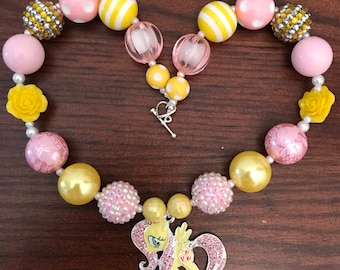 My Little Pony inspired Fluttershy Bubble Gum Necklace  (Child)