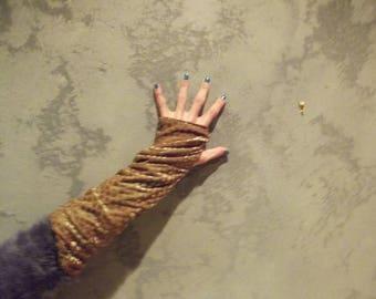 Gold polka dot reversible mittens...