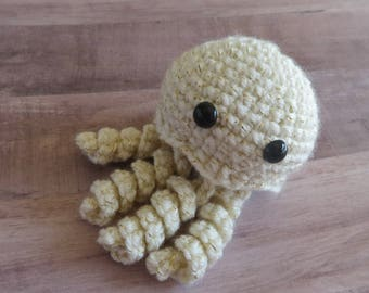 Jellyfish Gold Sparkle Crocheted Plush
