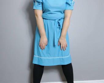 Vintage turquoise spotty dress / 80s polka dot short dress / blue polka dot dress with tie belt / boho spotty dress / UK 12 14