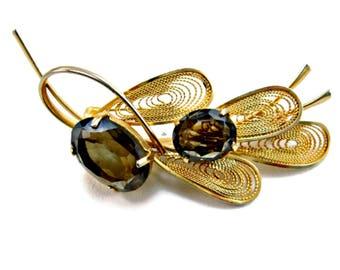 Rhinestone Brooch Brown Topaz Glass Filigree