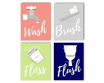 Bath Rules. Bathroom Rules. Kids Bathroom Art. Kids Bath Art. Wash. Brush. Floss. Flush. Bathroom Wall Art. Bathroom Sign Choose Colors KB11