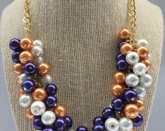 Clemson Necklace - Orange Purple necklace - Statement Necklace - Orange Purple White Cluster Necklace - GameDay Necklace - Purple Necklace