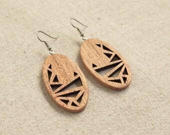 Abstract Chook - Myrtle Wood Earrings