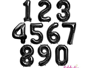 Jumbo Black 34 Inch Foil Mylar Number Balloons (NUMBERS 0-9)