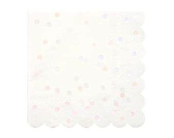 "SALE! Pink Polka Dot Napkins (Set of 16) - Meri Meri 6.5"" Large Iridescent Spotty Paper Napkin"